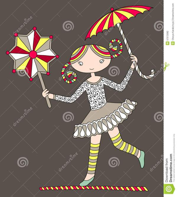 Pretty Girl Acrobat Walking Tightrope With Stock Vector - 57572082