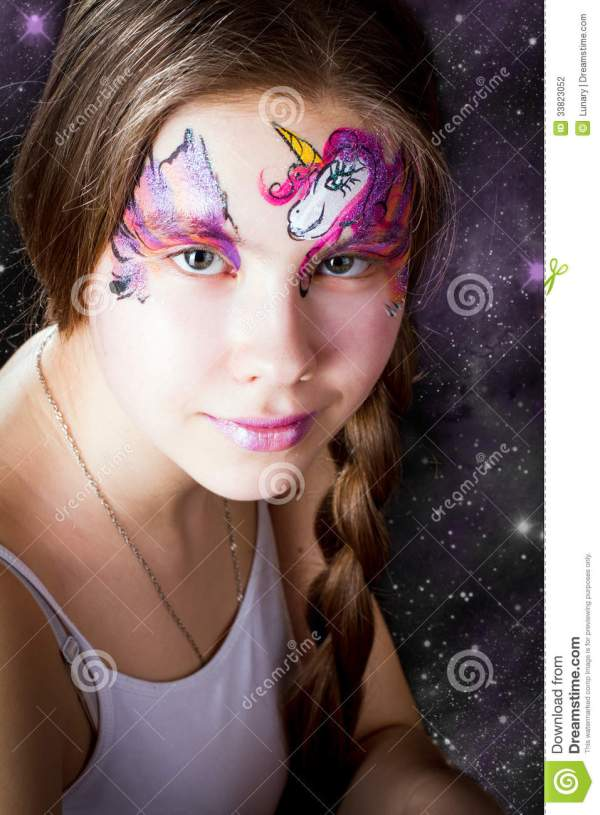 Pretty Girl With Face Painting Black Background Stock - Of Draw Color 33823052