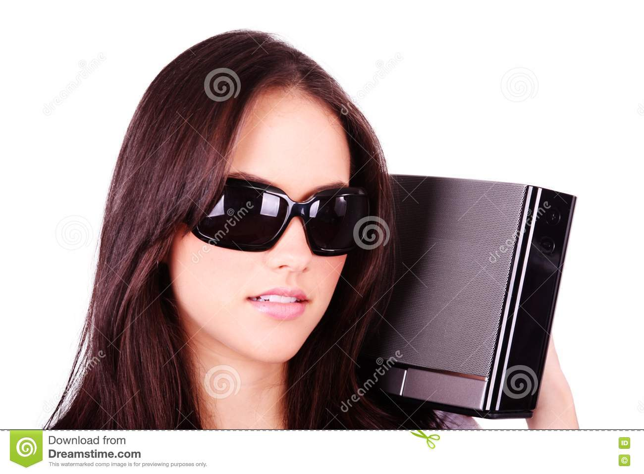 Pretty Girl With Modern MP3 Stereo System Isolated Stock Image - Image of caucasian, cassette: 19318491