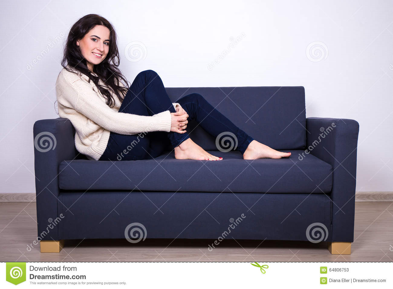 sitting pretty sofas single seat recliner sofa girl on at home stock photo image