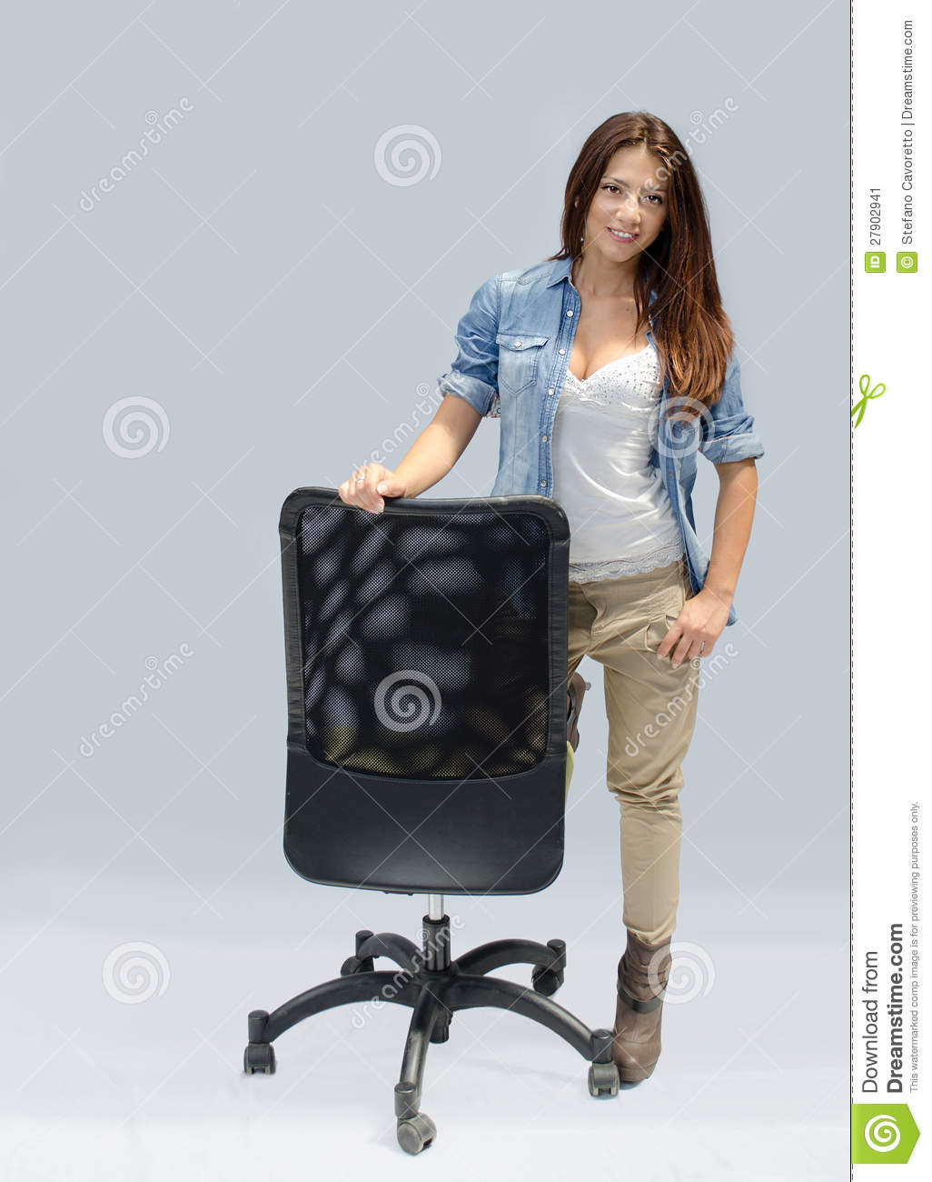 Girls Office Chair Pretty Girl Standing Next To An Office Chair Stock Image