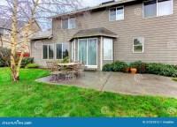 Pretty Green Backyard With Small Patio Stock Photo - Image ...