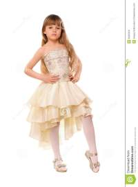 Pretty Little Girl In A Beige Dress Royalty Free Stock ...