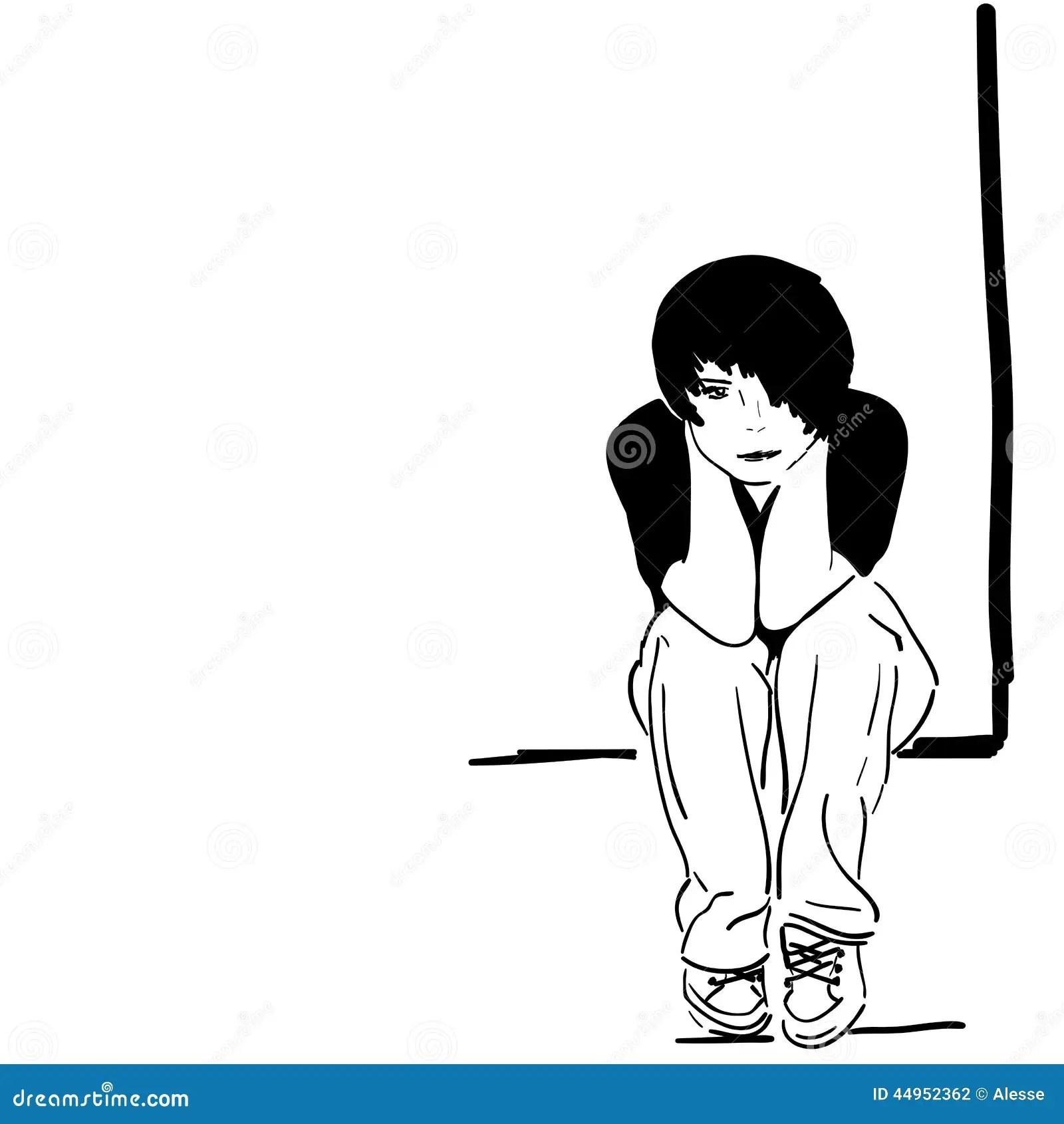 Pretty Sad Girl Black Amp White Stock Vector