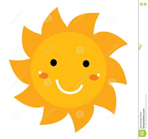 small resolution of beautiful yellow smiling cartoon sun isolated on white