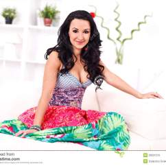 Sitting Pretty Sofas Long Sofa Table 60 Woman On The Stock Photo Image 29531510