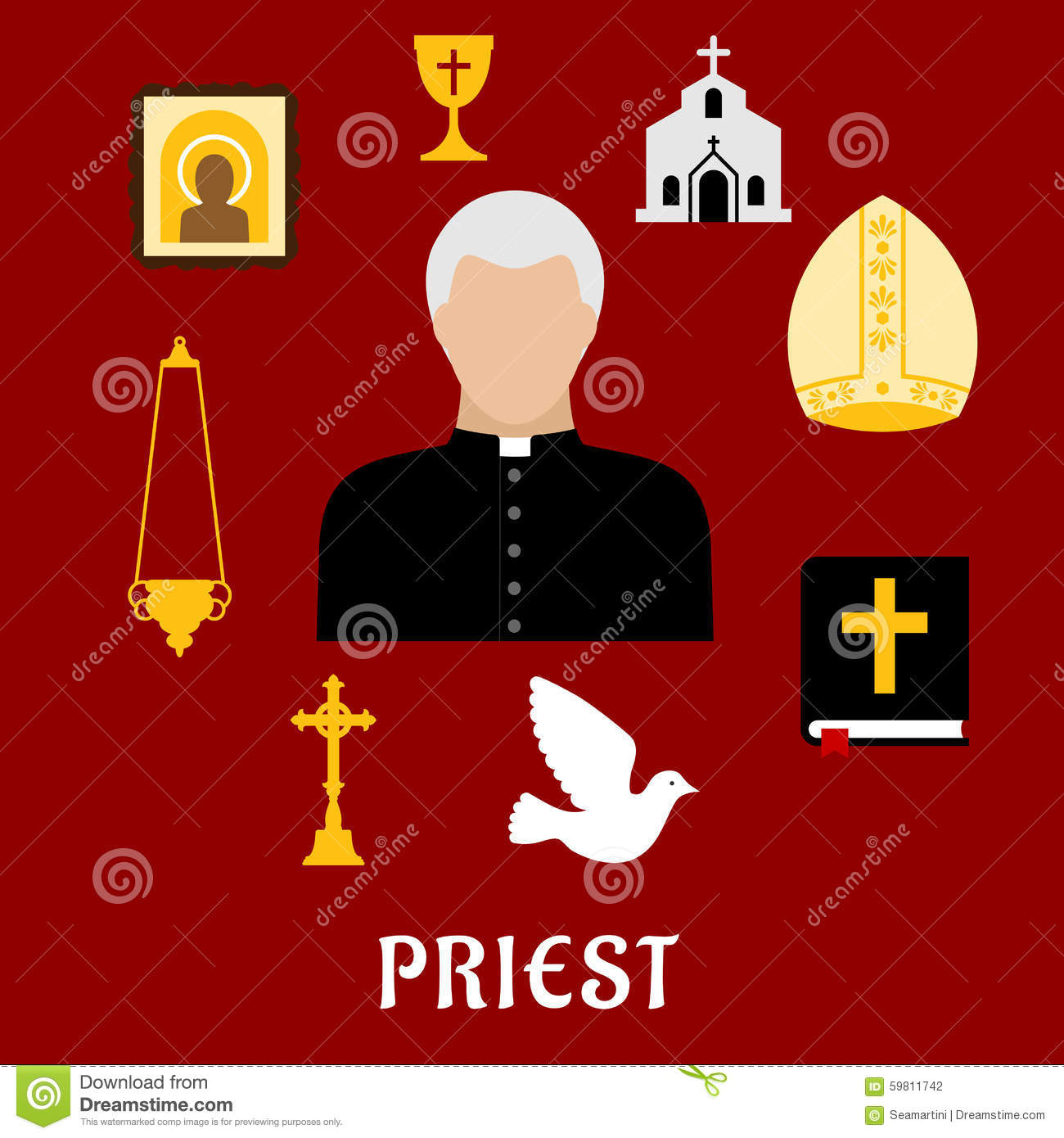 hight resolution of priest and religious flat icons or symbols