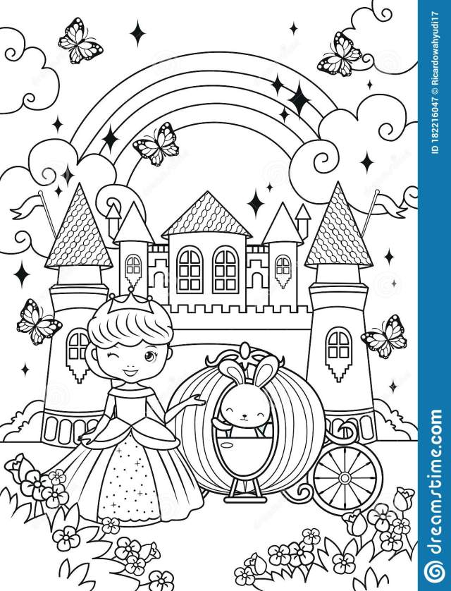 Princess And Bunny In The Castle Coloring Pages Stock Vector