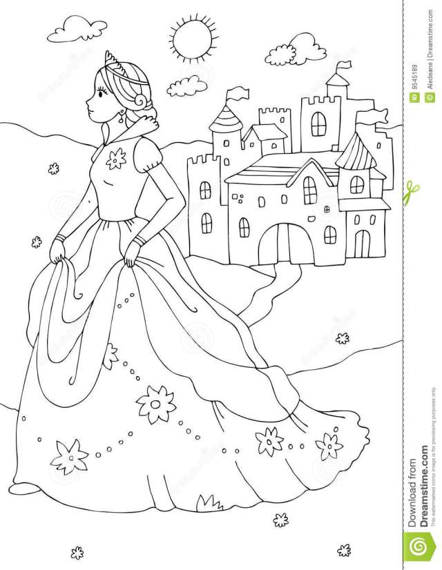 Princess And Castle Coloring Page Stock Illustration