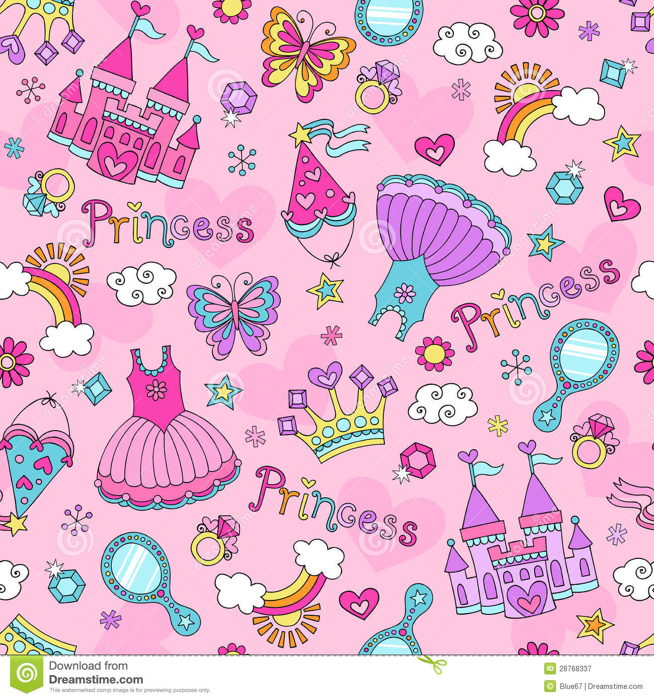Princess Fairy Tale Doodles Seamless Pattern Vecto Stock