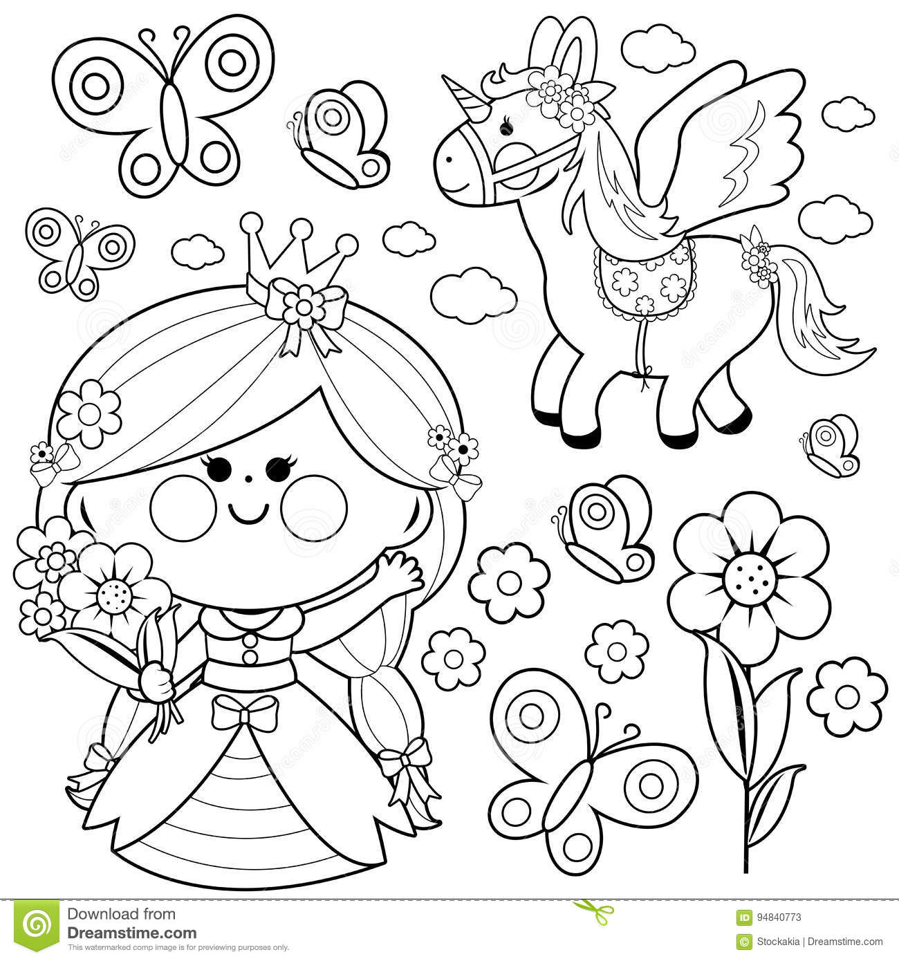 Princess Fairy Tale Set Coloring Page Stock Vector