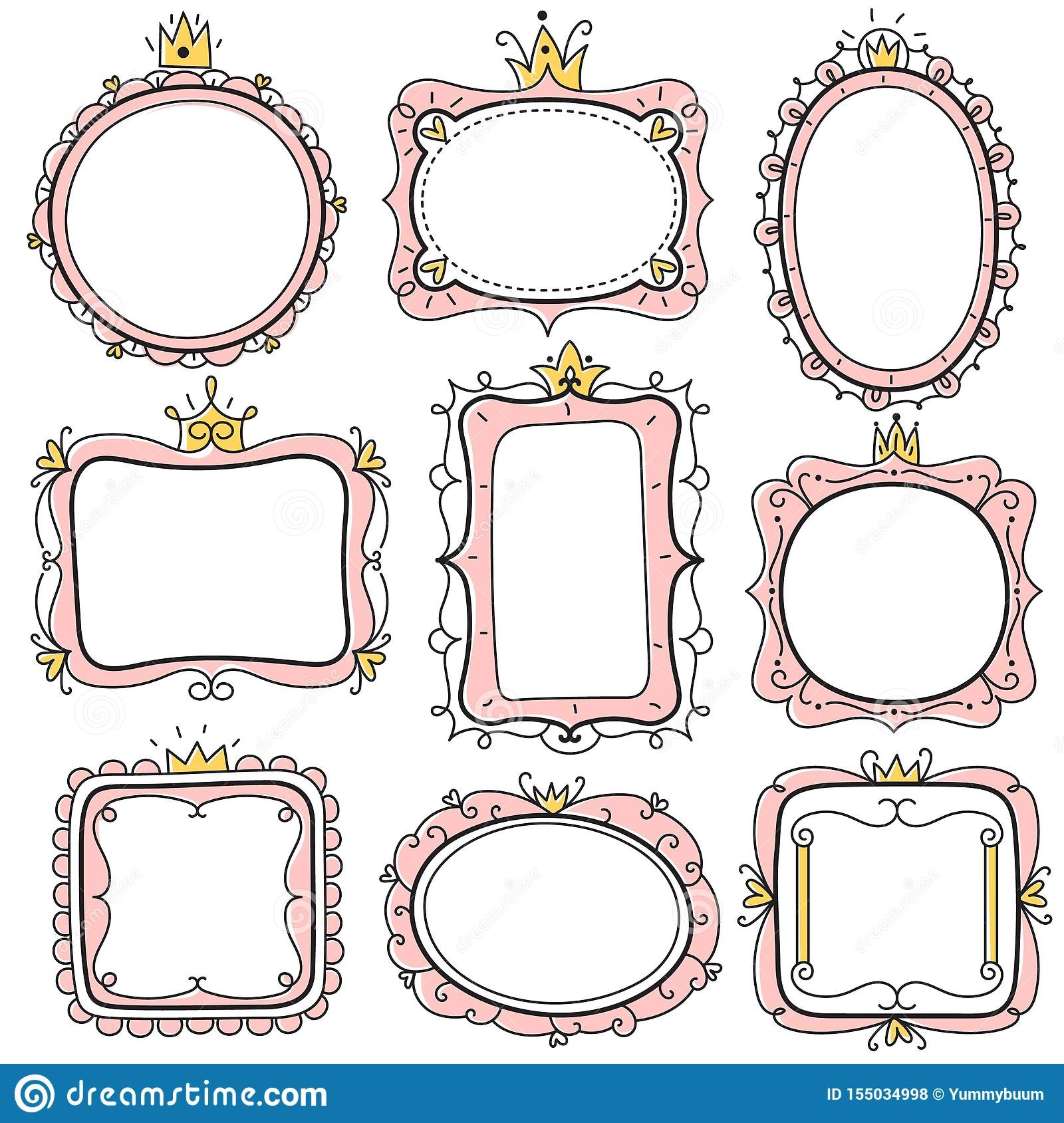 https www dreamstime com princess frames pink cute floral mirror crown kids certificate borders little girl birthday invitation card vector creative image155034998
