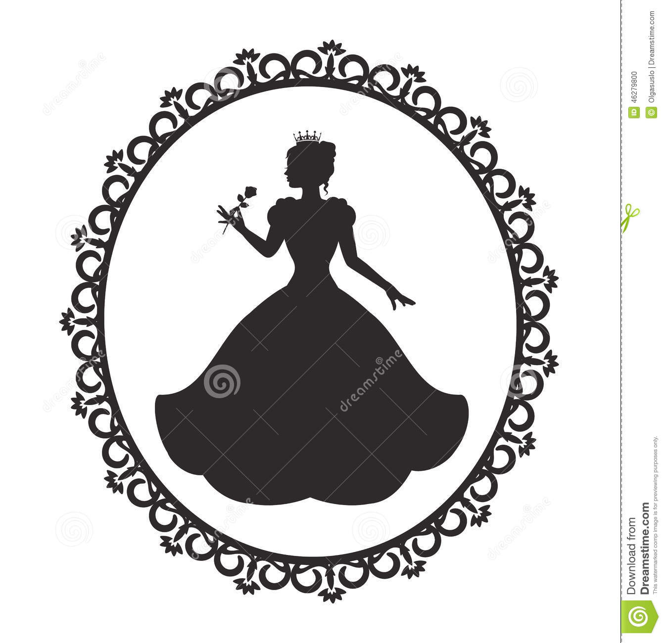 Princess In A Magnificent Dress In A Retro Frame Stock