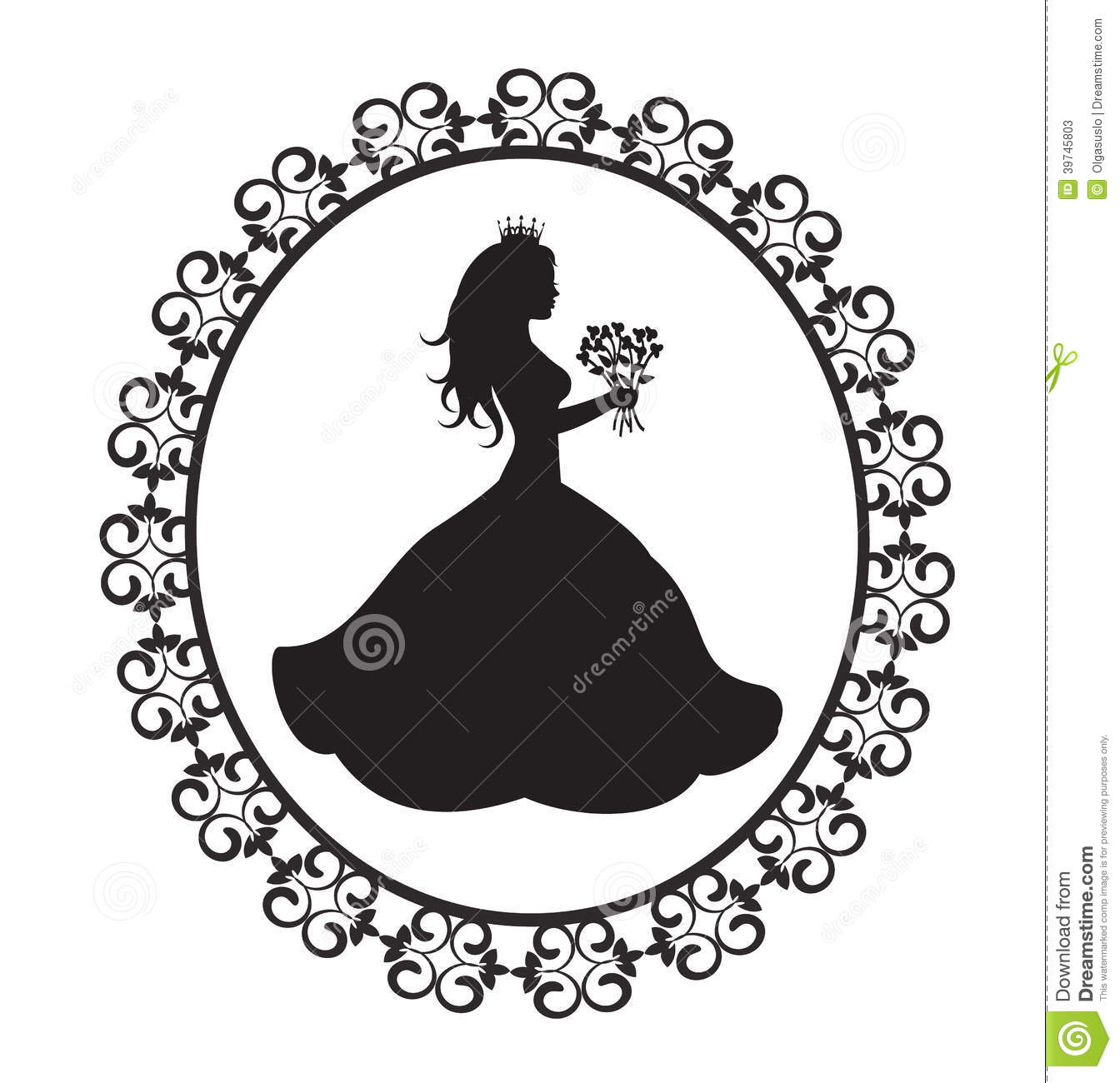 Princess Silhouette With Flowers In Vintage Frame Stock