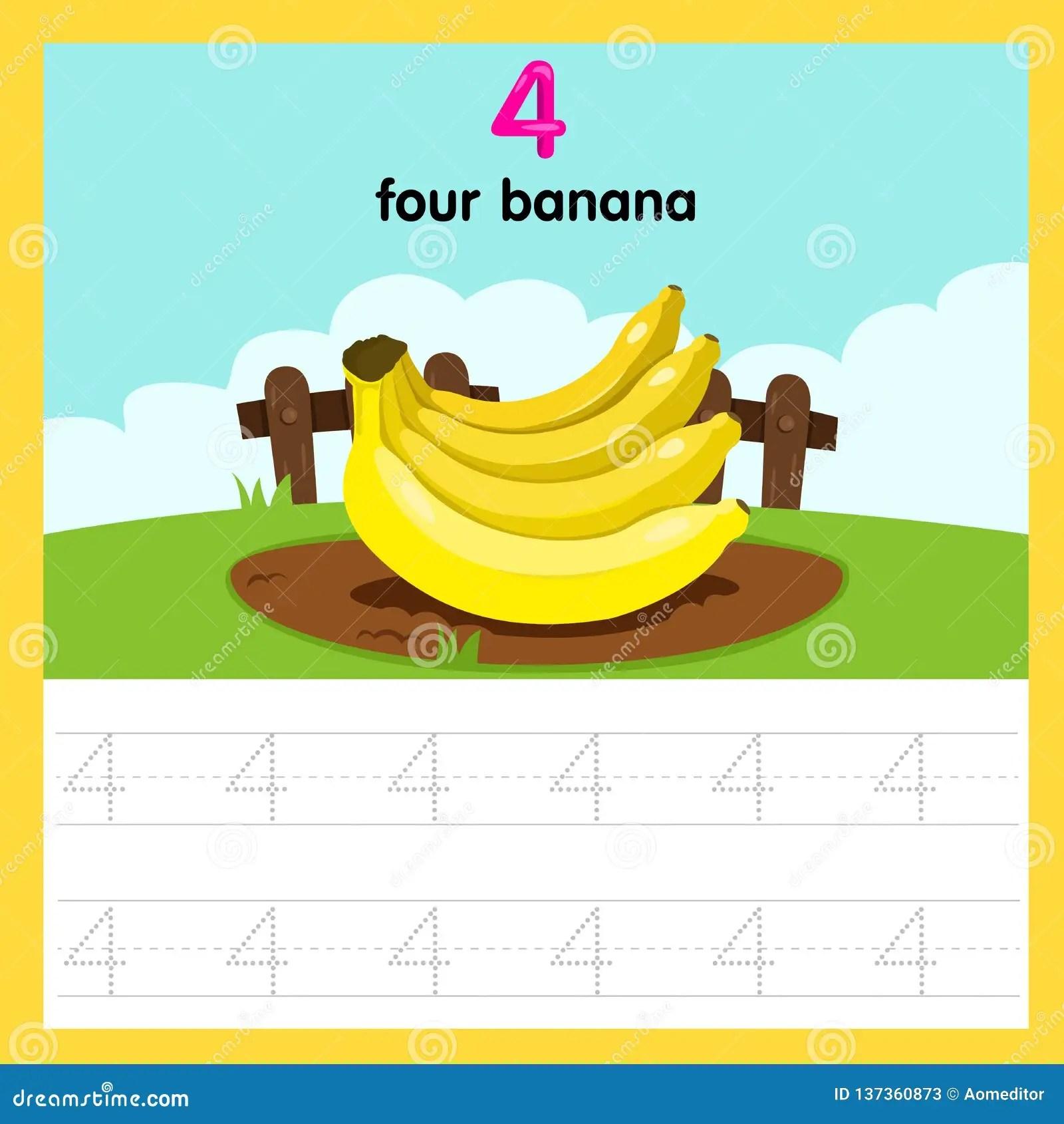 Illustrator Of Worksheet Four Banana Stock Vector