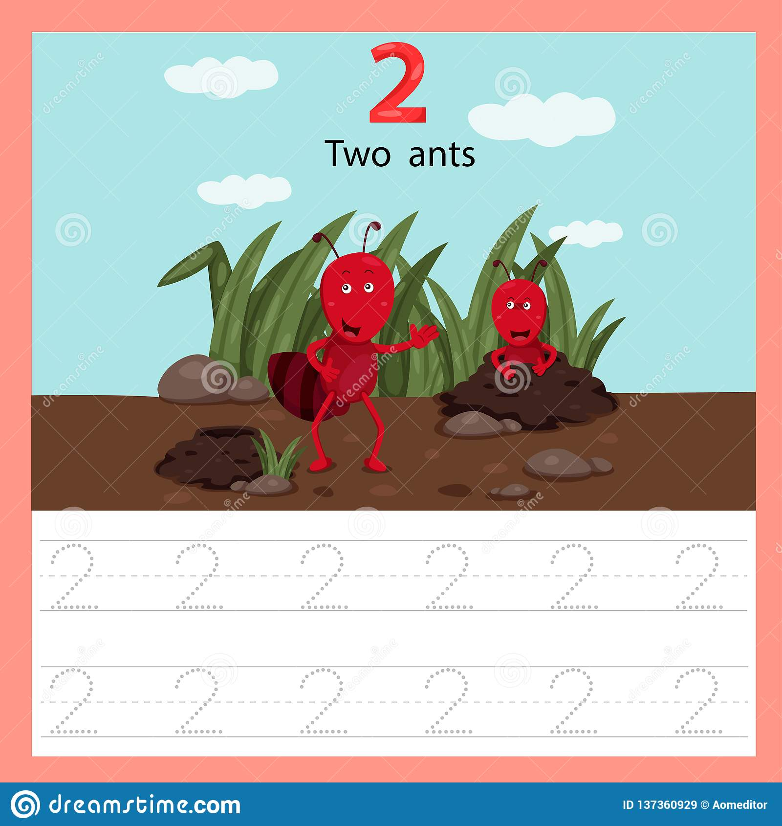 Illustrator Of Worksheet Two Ant Stock Vector