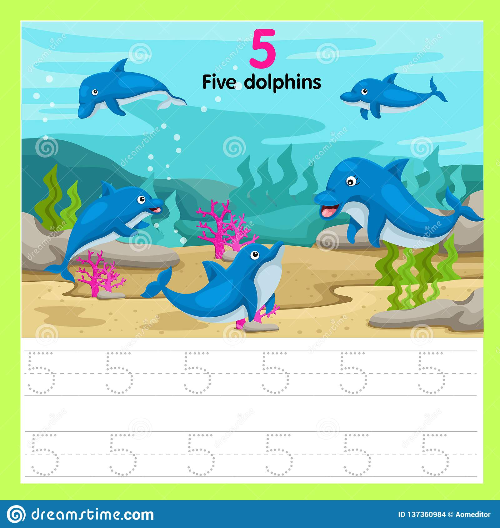 Illustrator Of Worksheet Five Dolphins Stock Vector