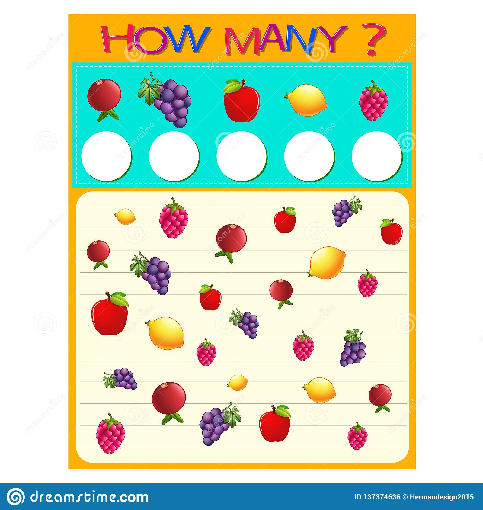 How Many Worksheet With Many Fruits Stock Vector