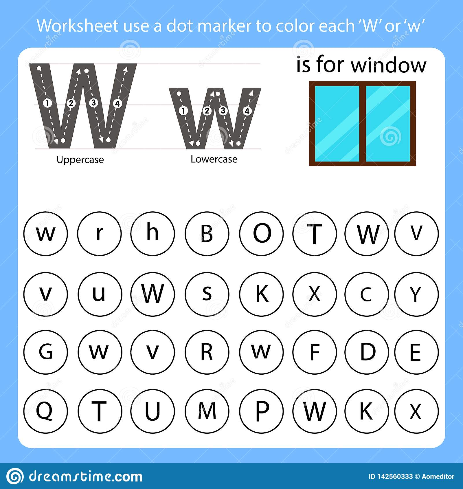 Worksheet Use A Dot Marker To Color Each W Stock Vector