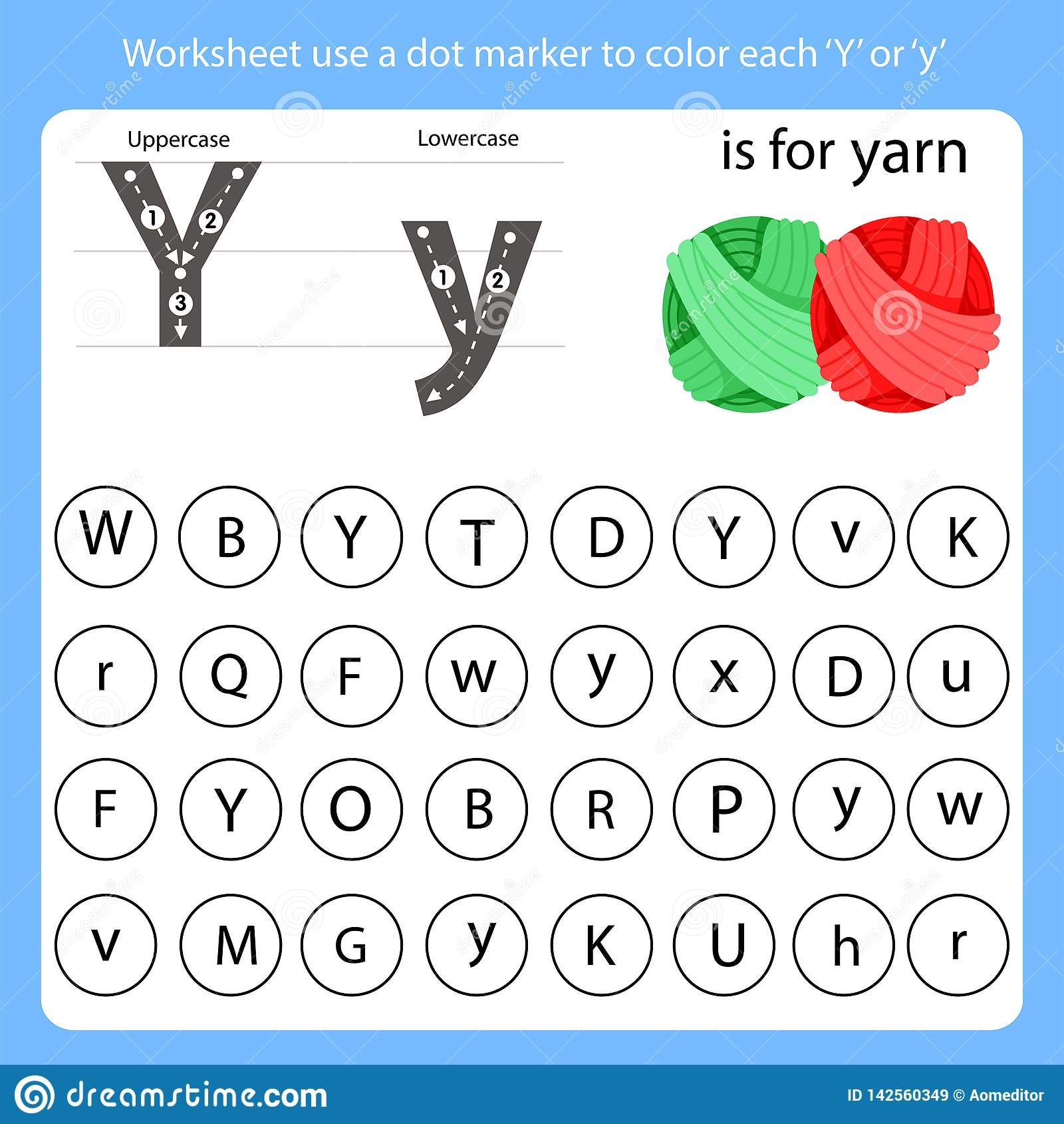 Worksheet Use A Dot Marker To Color Each Y Stock Vector