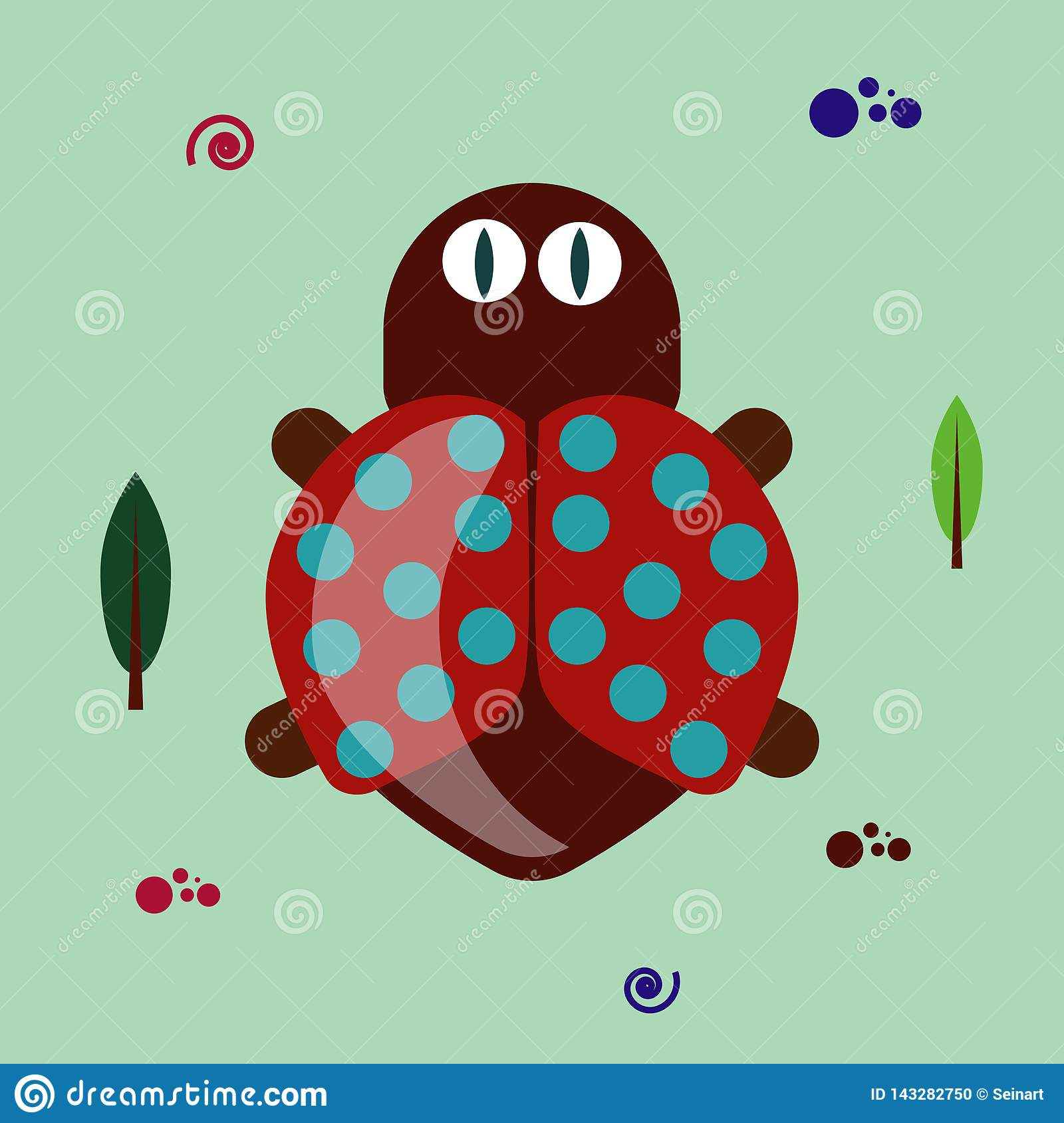hight resolution of colorful funny flat bug clipart on green background