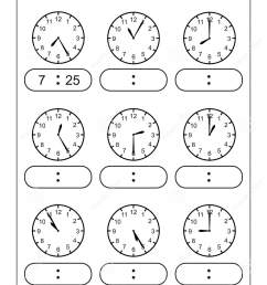 Telling Time Telling The Time Practice For Children Time Worksheets For  Learning To Tell Time Game Time Worksheets Stock Vector - Illustration of  game [ 1689 x 1132 Pixel ]