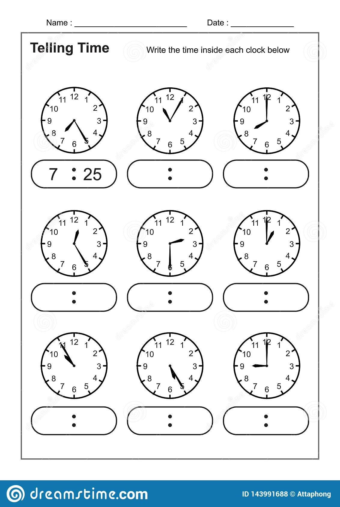 hight resolution of Telling Time Telling The Time Practice For Children Time Worksheets For  Learning To Tell Time Game Time Worksheets Stock Vector - Illustration of  game