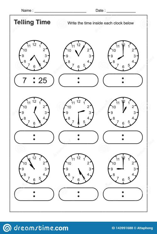 small resolution of Telling Time Telling The Time Practice For Children Time Worksheets For  Learning To Tell Time Game Time Worksheets Stock Vector - Illustration of  game