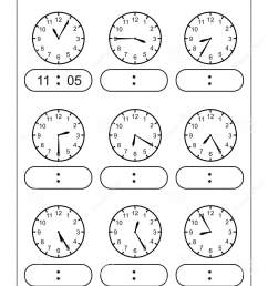 Telling Time Telling The Time Practice For Children Time Worksheets For  Learning To Tell Time Game Time Worksheets Stock Vector - Illustration of  kindergarten [ 1689 x 1131 Pixel ]