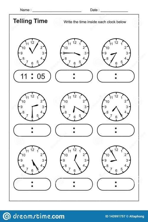 small resolution of Telling Time Telling The Time Practice For Children Time Worksheets For  Learning To Tell Time Game Time Worksheets Stock Vector - Illustration of  kindergarten