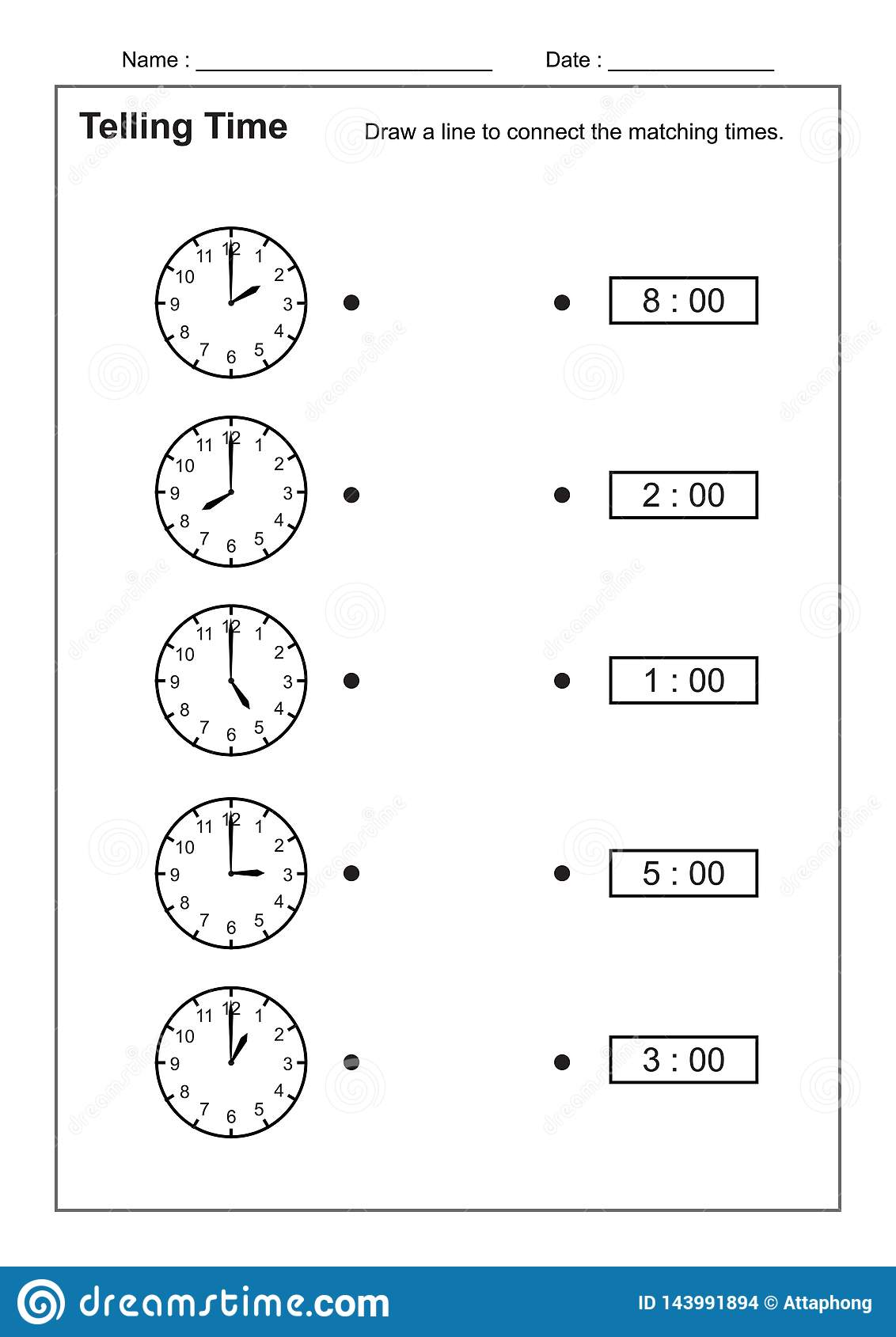 Telling Time Telling The Time Practice For Children Time