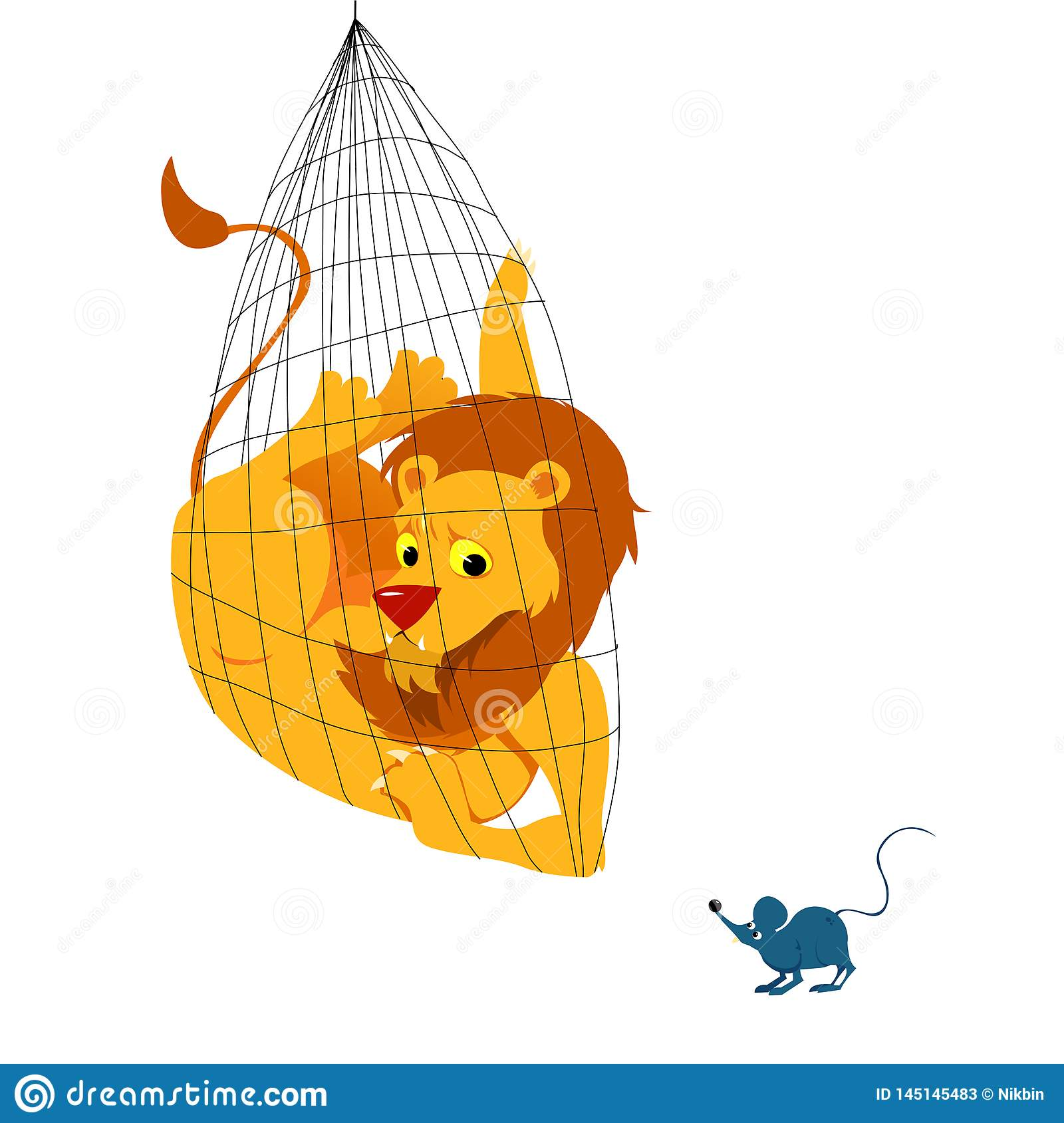 The Lion And The Mouse Tale Vectoral Illustration Stock