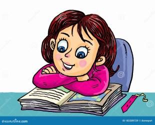 Cartoon Cute Girl Reading Book Stock Vector Illustration of child literature: 182589729
