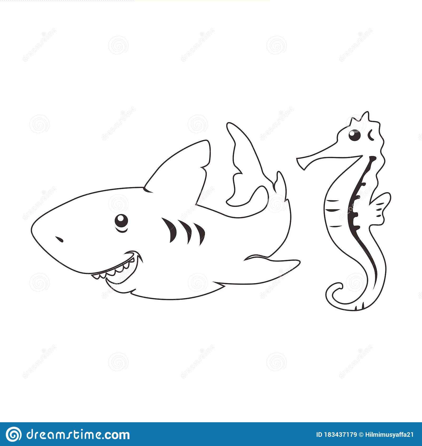 Coloring Book With Marine Animals Sharks And Sea Horse