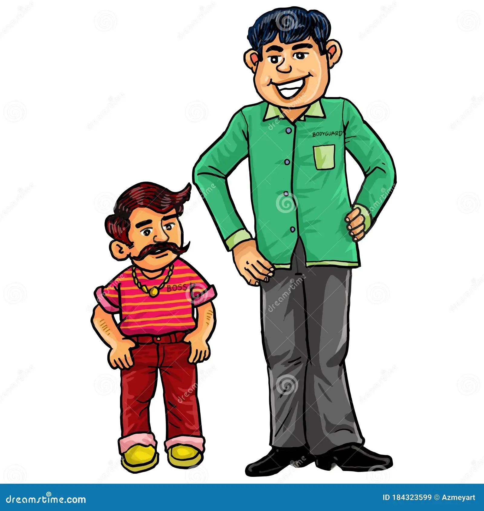 Cartoon Two Men. Short Man And Tall Man. Stock Vector - Illustration of human. fashion: 184323599