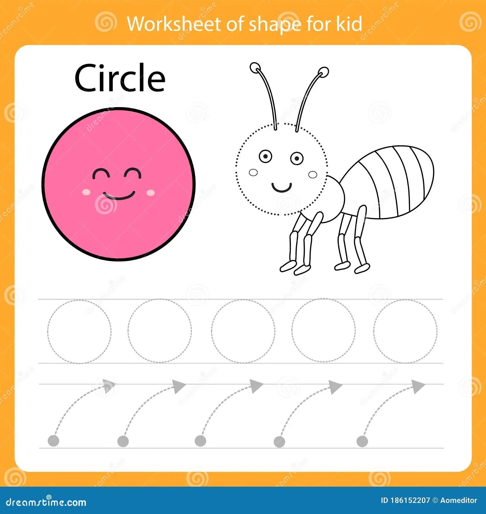 Illustrator Of Worksheet Of Shape For Kid Circle Stock