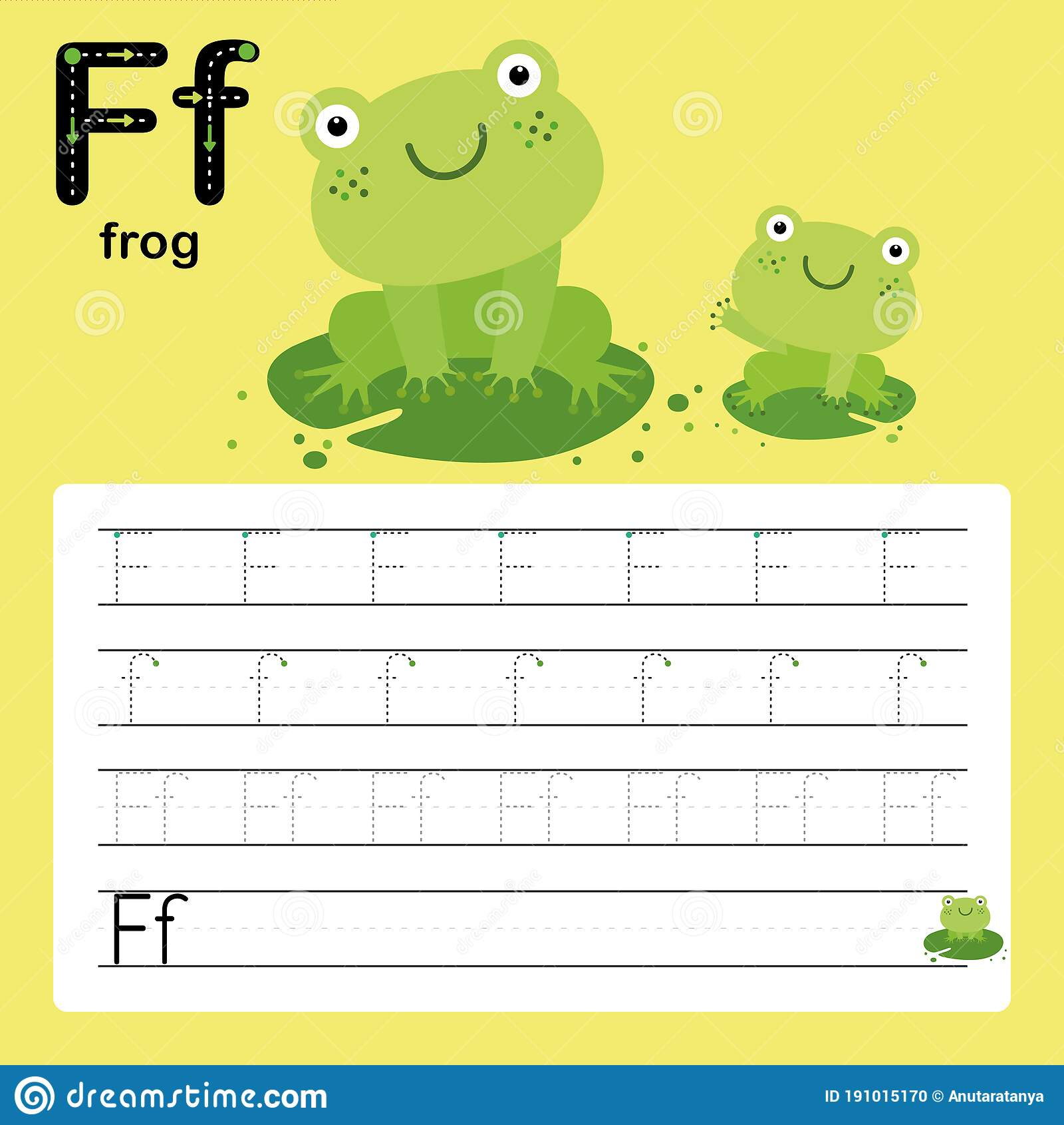F Frog Alphabet Tracing Worksheet For Preschool And