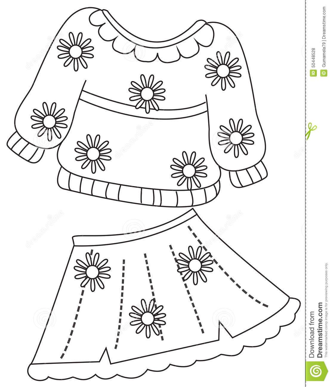 Print Clothes Coloring Page Stock Illustration