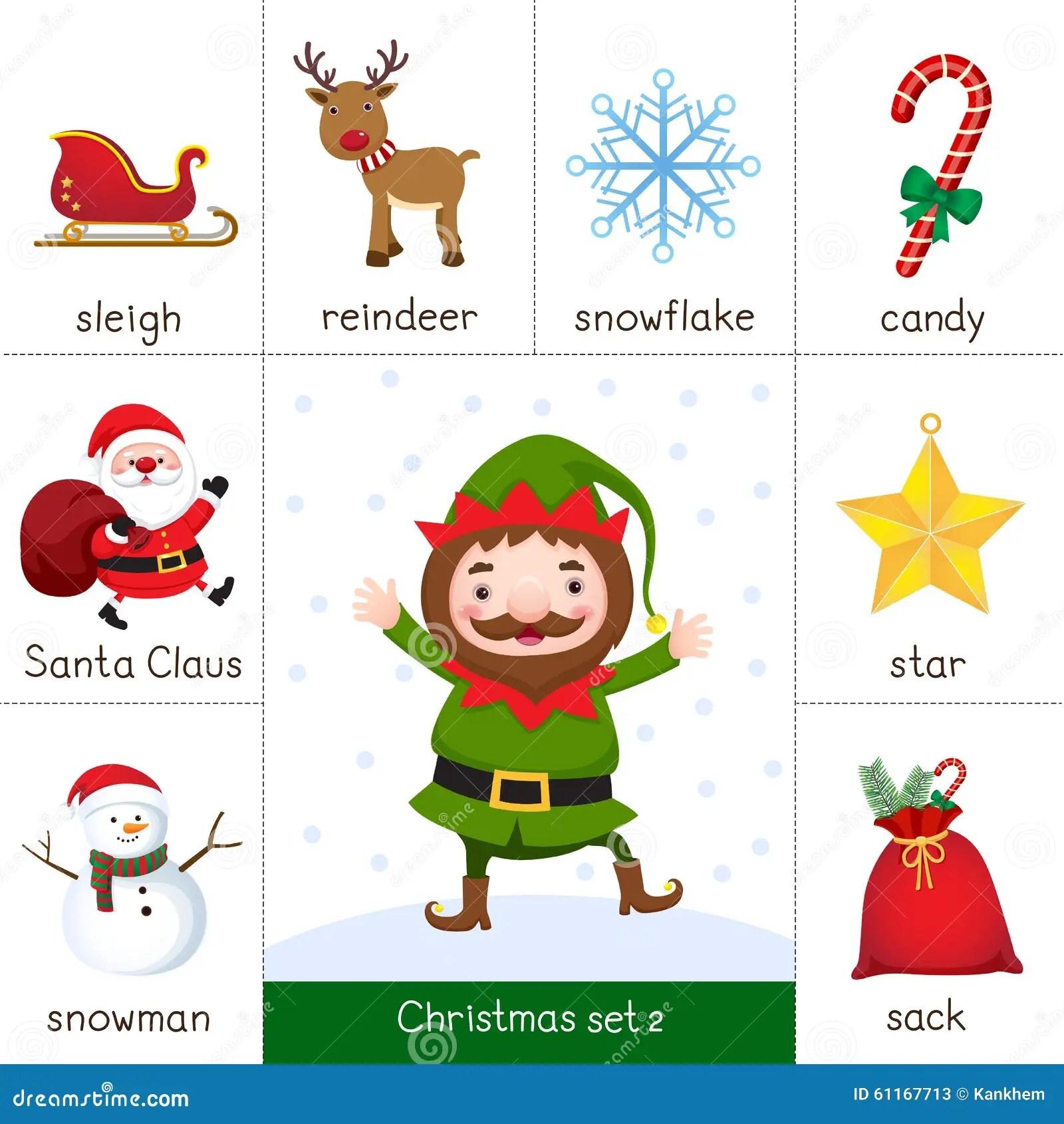 Printable Flash Card For Christmas Set And Christmas Elf