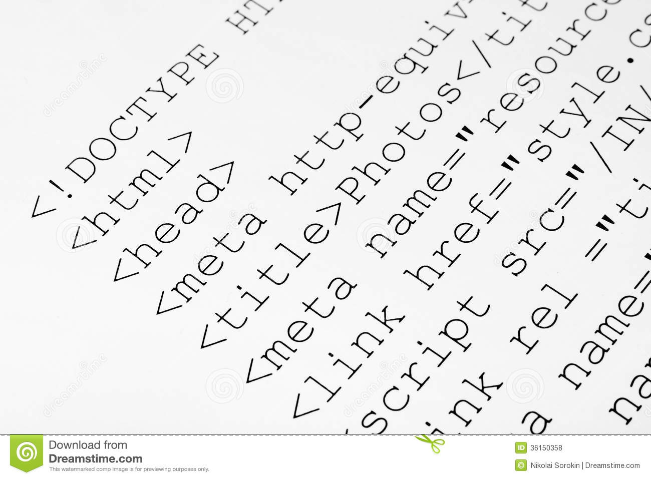 Printed internet html code stock photo. Image of listing