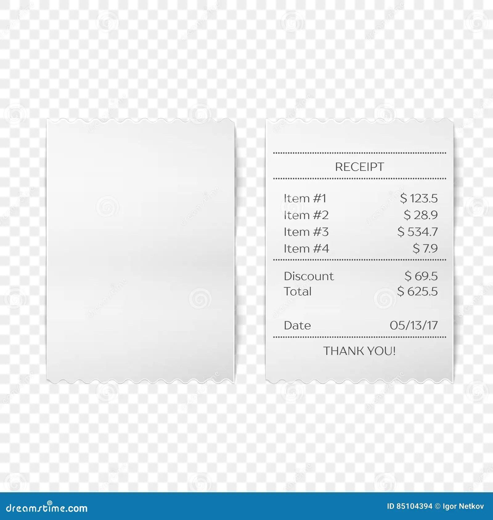 Printed receipt vector stock vector. Illustration of