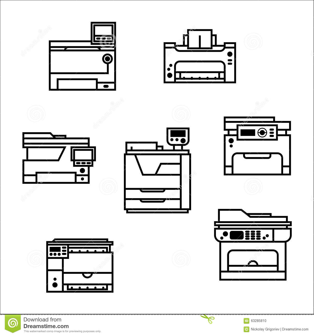 Printer Icons Stock Vector Illustration Of Document