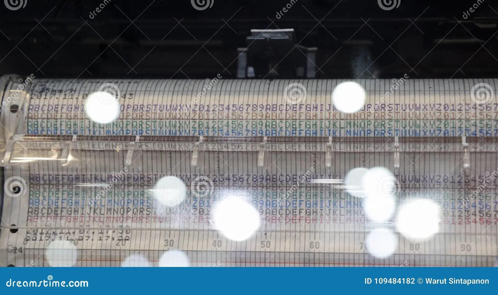 A Printer For Plotting A Temperature Graph Stock Photo