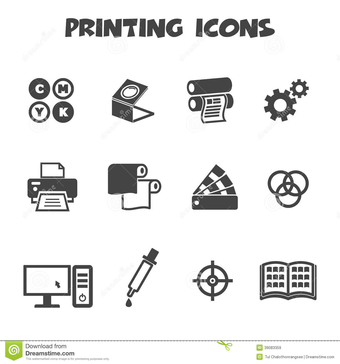 Printing Icons Stock Vector