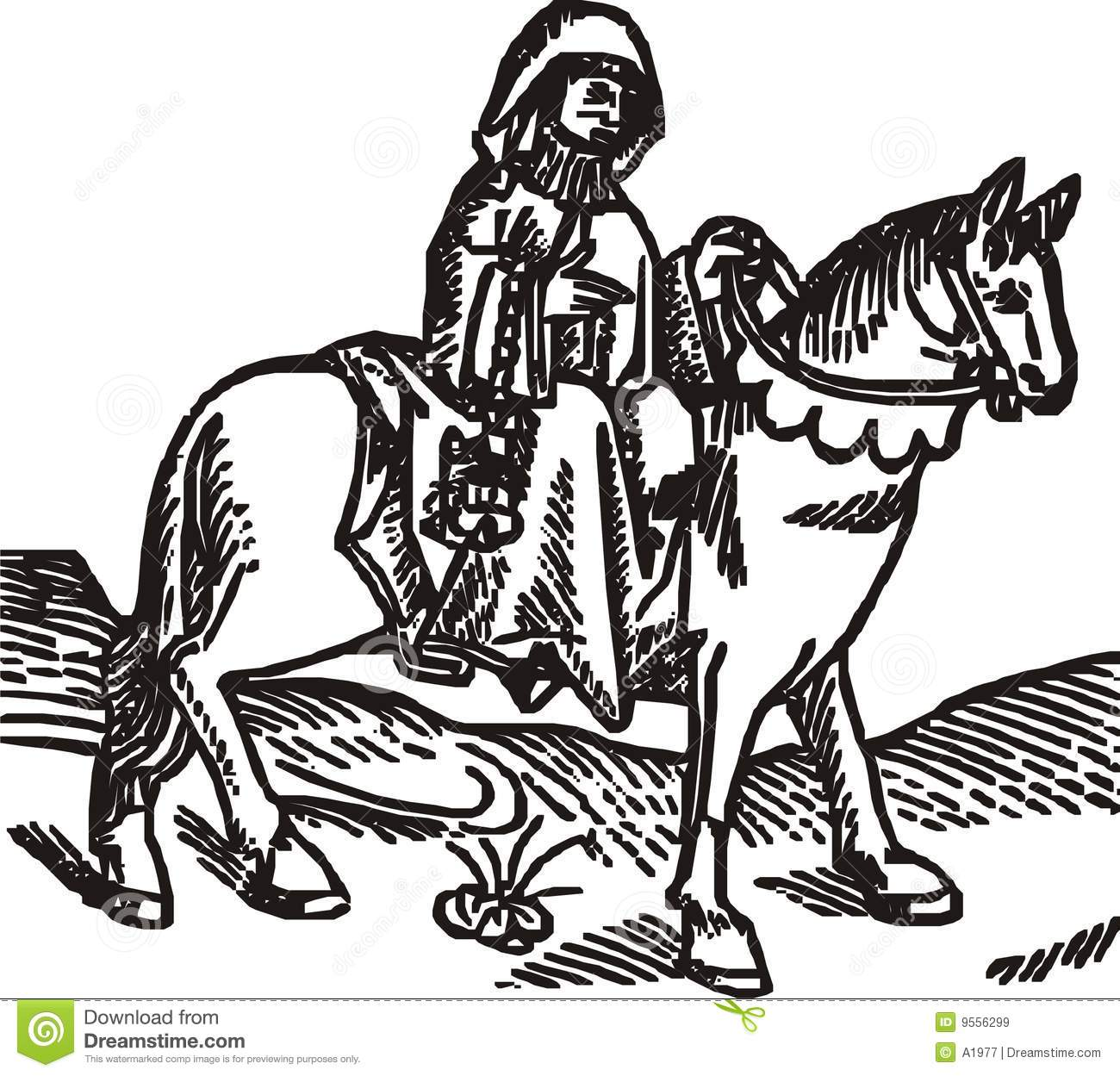The Prioress Woodcut Isolated Vector Illustration Royalty