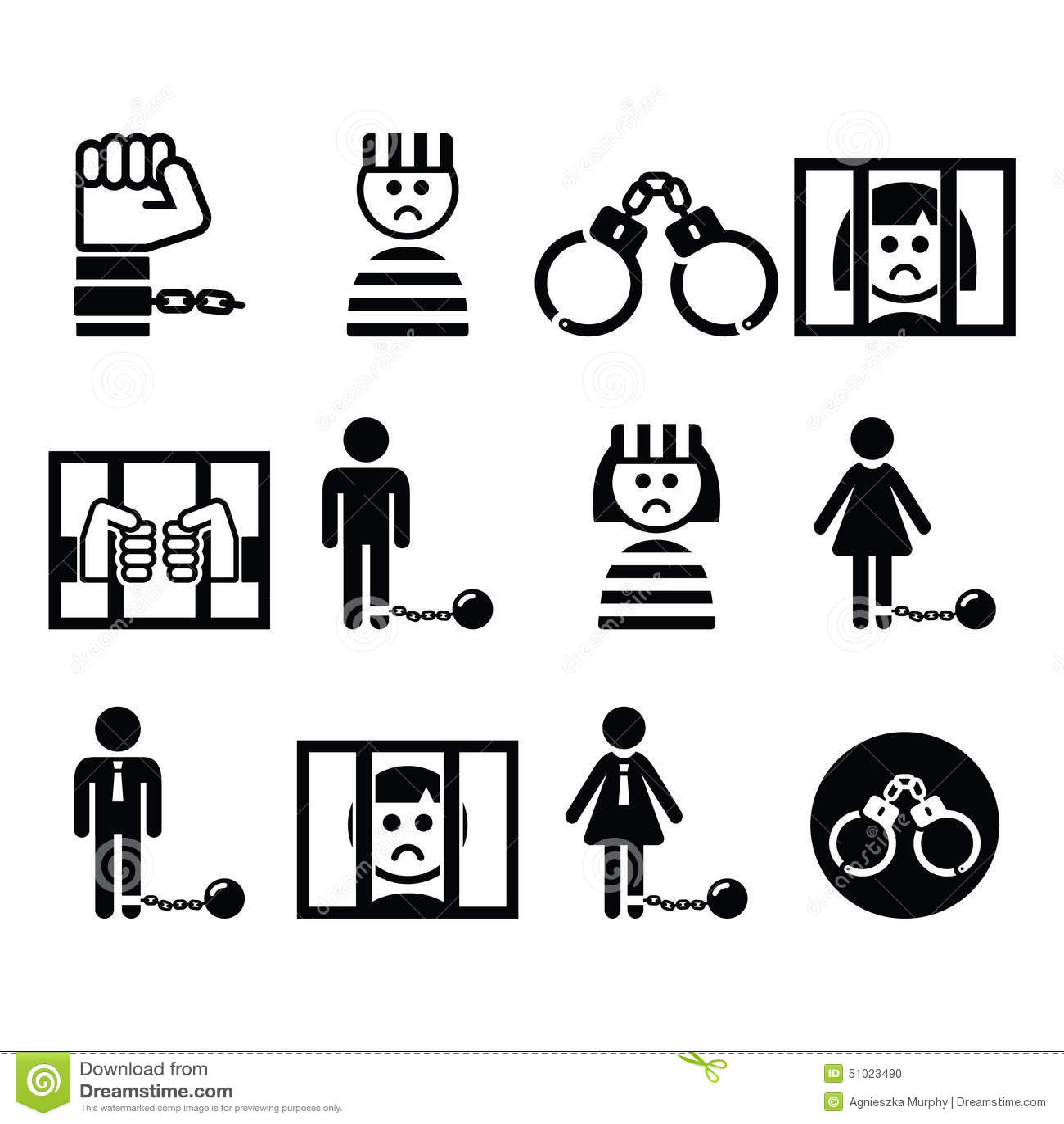 Prisoner, Crime, Slavery Vector Icons Set Stock Vector