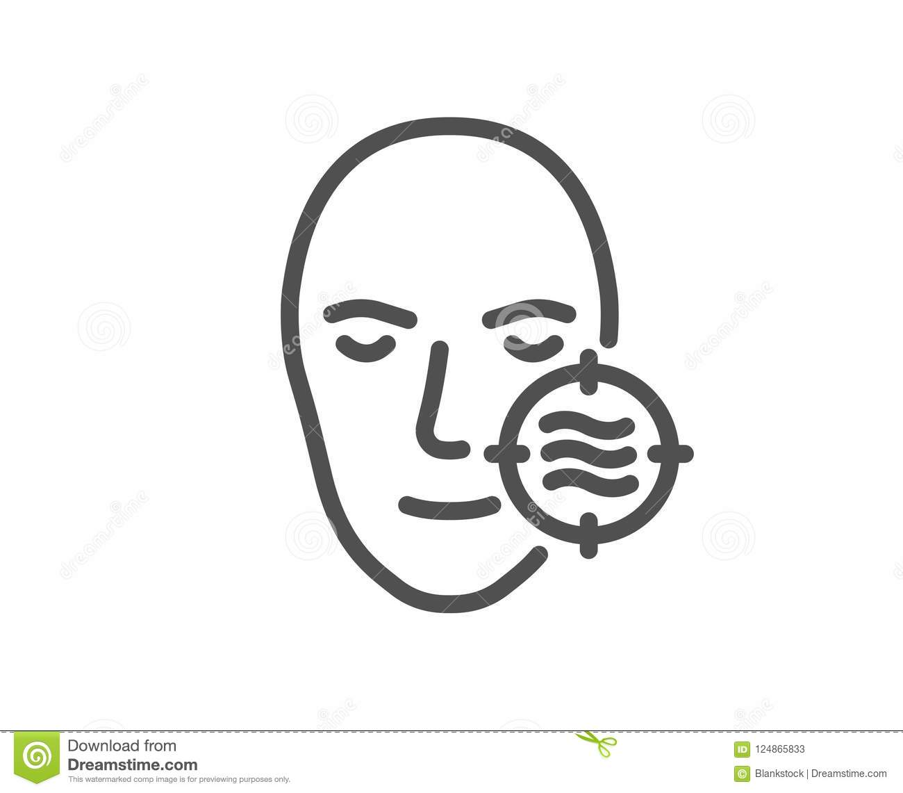 Problem Face Skin Line Icon Need Facial Care Sign Stock