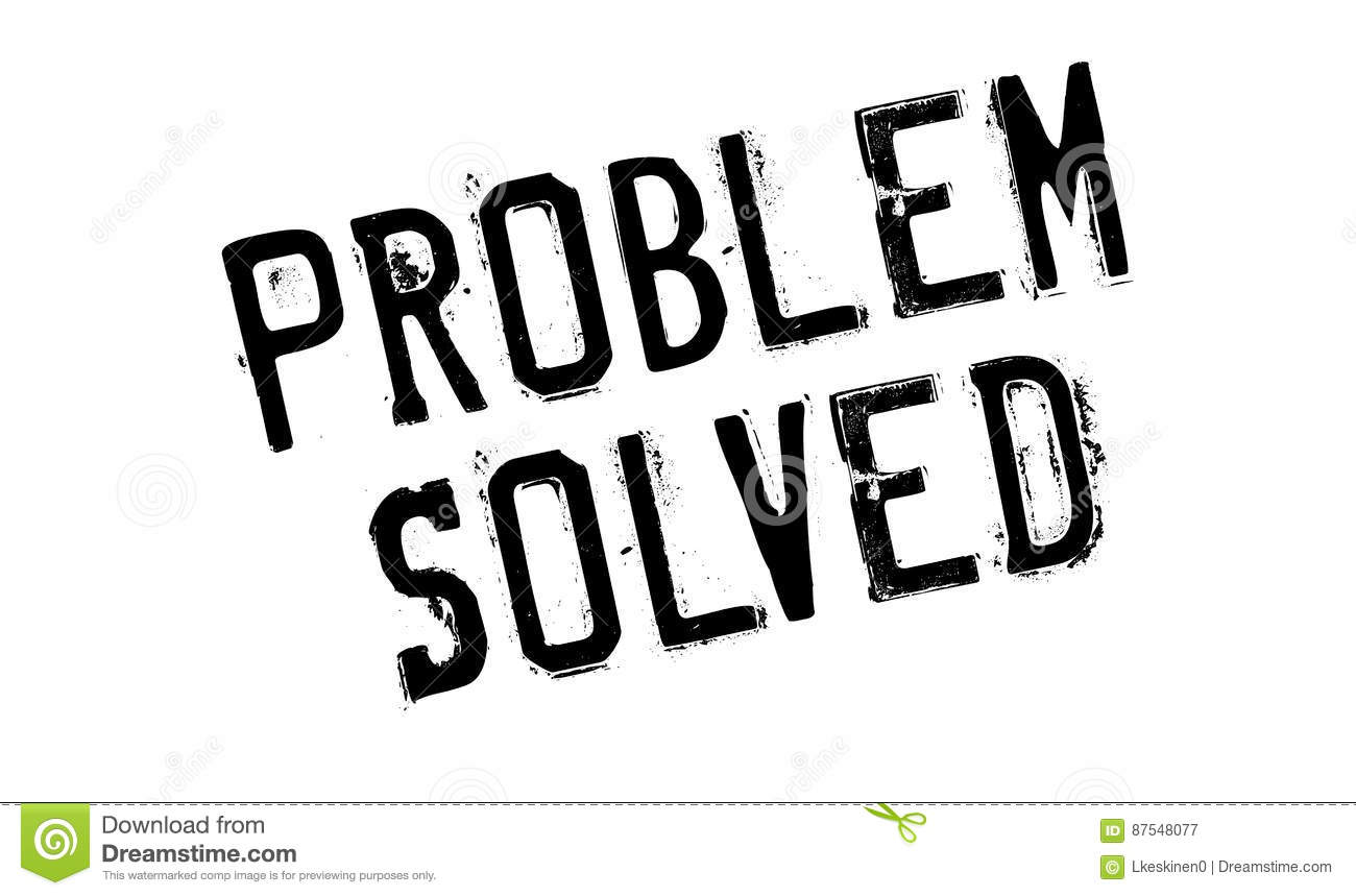 Problem Solved Rubber Stamp Vector Illustration
