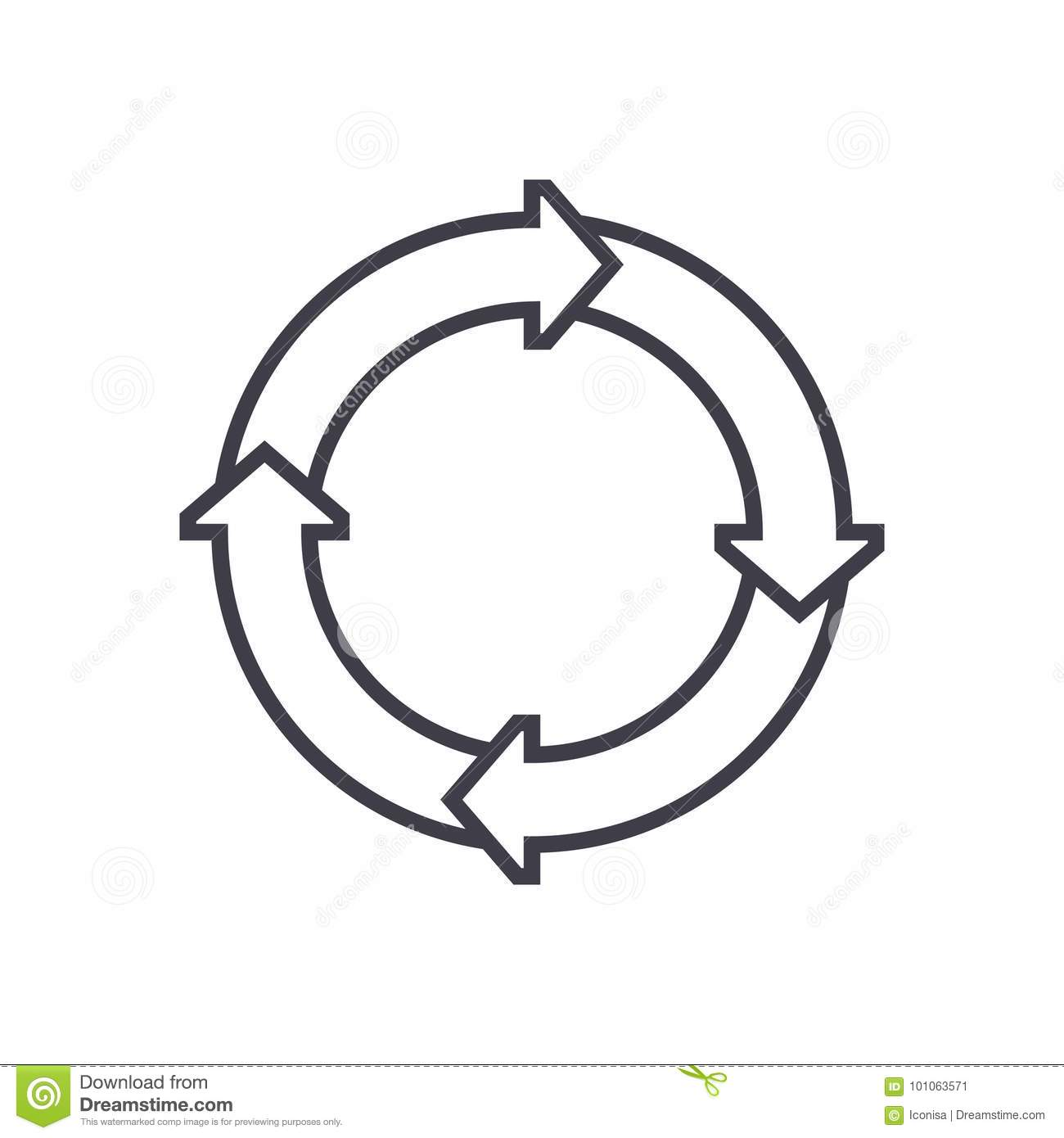 Process Diagrams Vector Line Icon Sign Illustration On