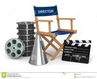 Producer Chair, Clapperboard And Film Reelsl. Stock ...